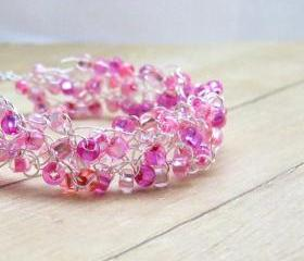 Wire Crochet Bracelet, Pink Beaded Crochet Jewelry