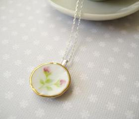 Sterling silver necklace with miniature doll's porcelain plate - Time for tea