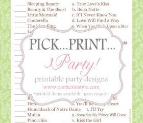 Baby Shower Game - Disney Love Songs - Printable DIY