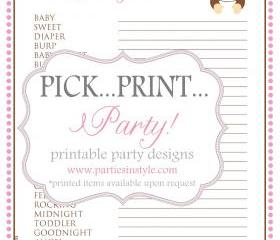 Baby Shower Game - Finish Mommy's Thoughts - Printable DIY