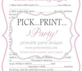 Baby Shower Game - Finish the Nursery Rhyme - Printable DIY