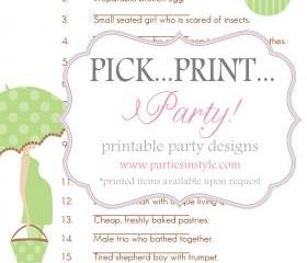 Baby Shower Game - Guess the Nursery Rhyme - Printable DIY