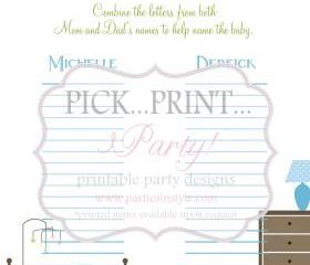 Baby Shower Game - Help Name the Baby - Printable DIY