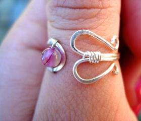 Silver Filled Adjustable Ring with Rose Stipe Agate, Thumb, Middle or Index finger