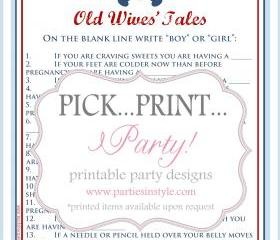 Baby Shower Game - Old Wives Tales - Printable DIY