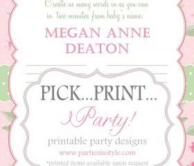 Baby Shower Game - What's in a Name - Printable DIY