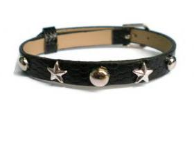 Black Studded 8mm Leather Bracelet - Adjustable 