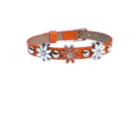 Orange Studded Leather Charm Bracelet - Orange With Daisy Slide Charms - Silver Studs