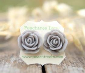 Large Grey Rose Flower Post Earrings // Bridesmaid Gifts // Mother Of The Bride Gift // Rustic Vintage Wedding