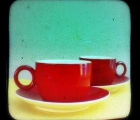Kitchen Art Print 5x5 TtV Photography - Retro Coffee Cups Photo - Vintage Style Kitchen Decor Photograph