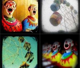 Carnival Photo Set of Four 5x5 TtV Photography Prints - Clowns, Ferris Wheels, Nursery Decor, Vintage Style Photographs