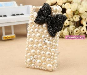 Pearl iPhone 4 case rhinestone crystal iPhone 4s case cute iPhone case iPhone covers
