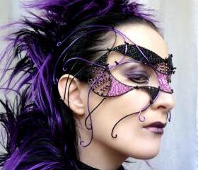 Purple and black cyber goth mask