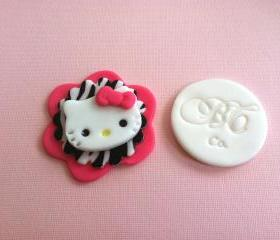 Hello Kitty Inspired Fondant Topper for Cupcake or Cake Decorations, All animal Prints Available