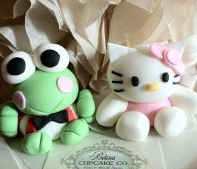 Sanrio Characters (Inspired) &quot;Hello Kitty&quot; & &quot;Keroppi&quot; Edible Fondant Cake Toppers 