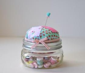 Patchwork Pincushion Jar, Floral, Medium Storage Pincushion