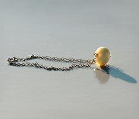 Handmade Bracelet of Happiness- Amber on Sterling Silver 925 chain- 19cm long