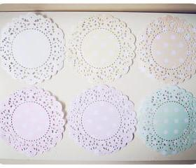 6 Parisian Lace Doily Pastel colors polka dot / pack