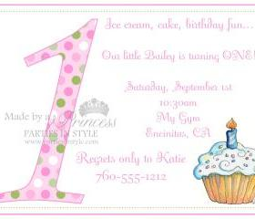 First Birthday Invitation - Pink & Purple Polka Dot Cupcake - Printable DIY