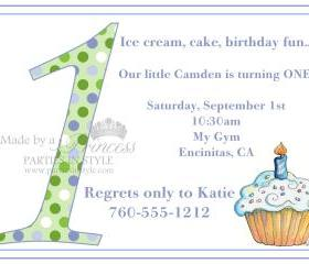 First Birthday Invitation - Blue & Green Polka Dot Cupcake - Printable DIY