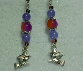 Halloween Earrings Little Silver Witch on Broom Charm Earrings