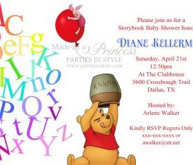 Baby Shower Invitation - Alphabet Tumble with Winnie the Pooh & Piglet - Printable DIY