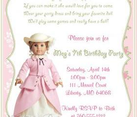 Birthday Invitation - American Girl Elizabeth - Printable DIY