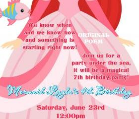 Birthday Invitation - Princess Series Ariel Mermaid Princess - Printable DIY