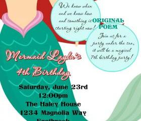 Birthday Invitation - Princess Series Ariel Little Mermaid - Printable DIY - Original Poem