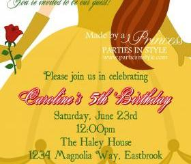 Birthday Invitation - Princess Series Belle - Printable DIY