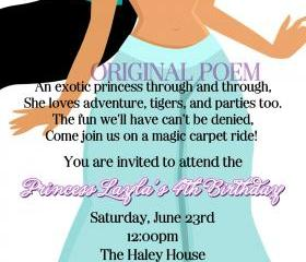 Birthday Invitation - Princess Series Jasmine - Printable DIY - Original Poem