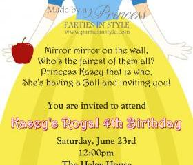 Birthday Invitation - Princess Series Snow White - Printable DIY
