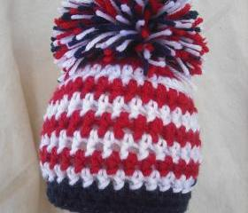 Boys Newborn Patriotic pom pom hat, American Flag hat, Patriotic photography prop