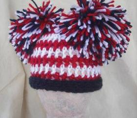 Girls Newborn Patriotic pom pom hat, American flag hat, Patriotic photography prop