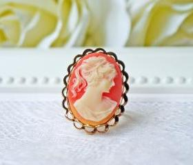 Vintage Lady Cameo Ring In Gold. Classic Victorian Style. Adjustable Ring