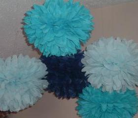 15 Small Blue Tissue paper poms