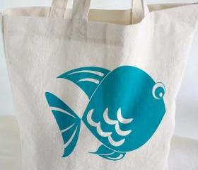 Cotton TOTE BAG - Beach tote - cotton tote bag with hand printed fish