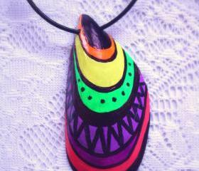 Tribal Neon Hippie Pendant