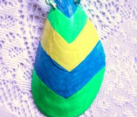 Fresh Breeze natural shell pendant: fuorescent green, blue, yellow