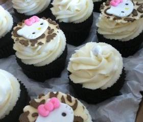Custom Order for KSLEIGH Hello Kitty inspired Leopard Print Cupcake toppers