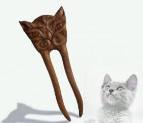 Wooden Hair Fork Sticks Hairpin Cat Hair Accessory MariyaArts