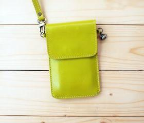 iPhone case, Leather bag with hand strap, Lime Green