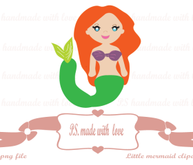 Little mermaid digital image-clipart for personal and commercial use