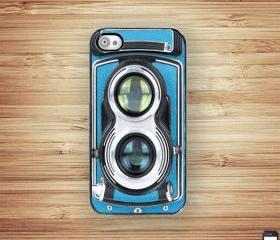 Vintage Blue Retro Camera iPhone 4 iPhone 4S Hard Case - Black Trim