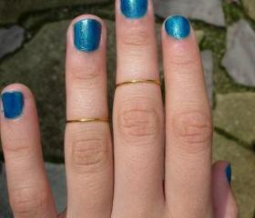 Set of 2 Shiny Brass Rings, Mid Finger, Memory Ring, Knuckle Rings, Pinky, Adjustable Plus Bonus Ring 3 instead of 2