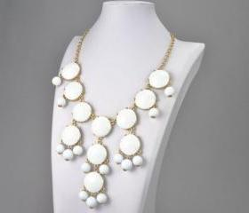 Handmade Bubble Necklace - Bib Necklace- Statement Necklace- White