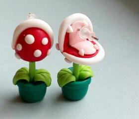 A Pair Cute Unique super Mario Piranha Plant Chomper Earring