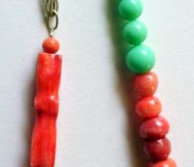 coral and mint necklace