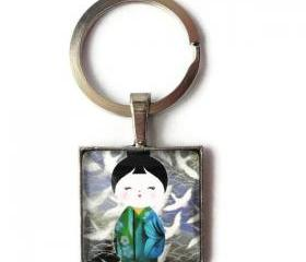Japanese Doll Blue Green Kimono Origami Birds Glass Keychain or Necklace