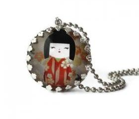 Origami Paper Japanese Girl Red Kimono Round Glass Silver Pendant